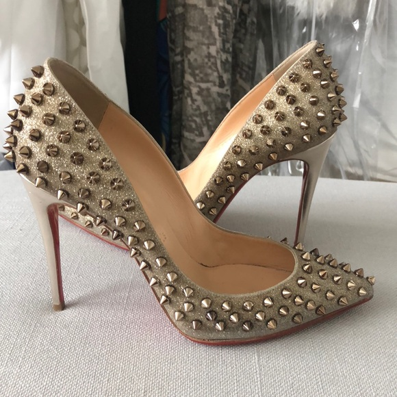 the best attitude 4a38b dbad7 Christian Louboutin Gold Glitter Spiked Pigalle